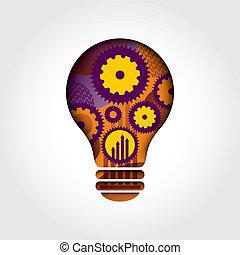 スタイル, 概念, ビジネス, ライト, 考え, イラスト, 形, 電球, 最小である
