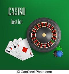 スタイル, 概念, ルーレット, カジノ, 現実的, 背景, 賭け, 最も良く