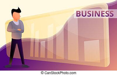 スタイル, 概念, 旗, ビジネス, グラフ, 漫画