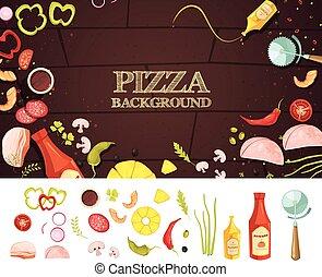 スタイル, 概念, 漫画, ピザ