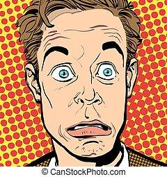 スタイル, 概念, 芸術, illustration., 人々, 考え, ポンとはじけなさい, promo., バックグラウンド。, businessman., man., 広告, 肖像画, halftone, style., 驚かされる, レトロ