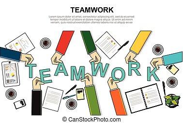 スタイル, 概念, illustration., ビジネス, 現代, チーム, チームワーク, 経営陣, 線
