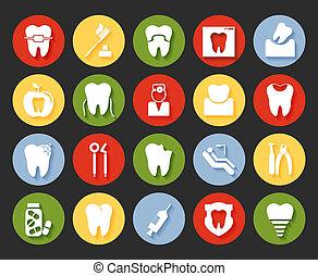 スタイル, 歯医者の, セット, アイコン, 平ら