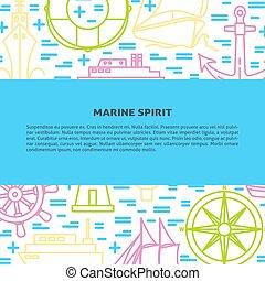 スタイル, 海洋, ポスター, 船, テンプレート, 線, 旗, ∥あるいは∥