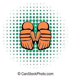 スタイル, 漫画, 対, 手袋, ホッケー, アイコン