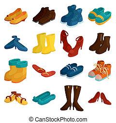 スタイル, 漫画, 靴, セット, アイコン