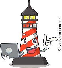 スタイル, 灯台, 特徴, ラップトップ, 漫画