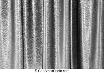 スタイル, 灰色, 贅沢, カーテン, カーブ, theater., 装飾用である, 手ざわり, パターン, 灰色, ステージ, 背景, 型, 現代, 表面, ドレープ, 背景, スタイル, 生地