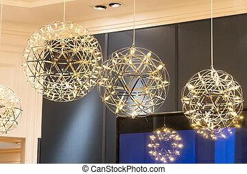 スタイル, 現代, ランプ, 電球, ライト