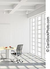 スタイル, 現代, 屋根裏, オフィス