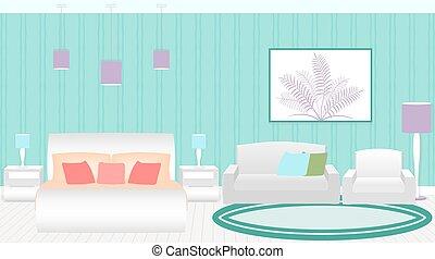 スタイル, 現代, furniture., ホテル寝室, 内部