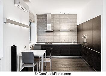 スタイル, 現代, minimalism, 調子, 内部, モノクローム, 台所