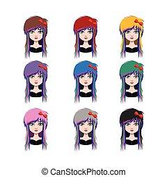 スタイル, -, 現場, 別, 毛, 色, 9, 女の子