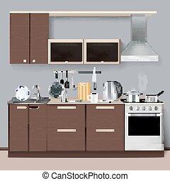 スタイル, 現実的, 現代, 台所, 内部