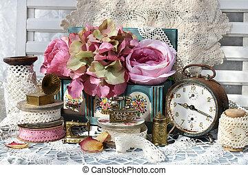 スタイル, 生活, 時計, stuffs, ミニチュア, コレクション, 鉄, 型, まだ, 警報
