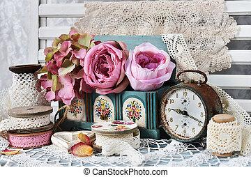 スタイル, 生活, 花, 時計, ひも, 型, まだ, 警報