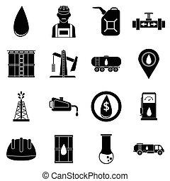 スタイル, 産業, アイコン, セット, 単純である, オイル