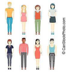 スタイル, 男性, 女の子, 若い, 偶然