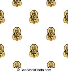 スタイル, 石棺, illustration., エジプト人, パターン, 博物館, ファラオ, 隔離された, バックグラウンド。, ベクトル, 白, アイコン, 漫画, 株