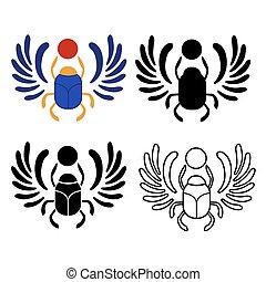 スタイル, 神聖, バックグラウンド。, オオタマオシコガネ, 最新流行である, 隔離された, 10., かぶと虫, エジプト人, 平ら, scarab., eps, 虫, 白