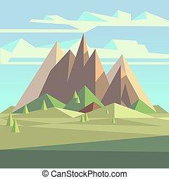 スタイル, 空, poly, 風景, 木, origami, 3d, 山, 低い