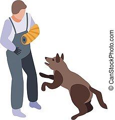 スタイル, 等大, アイコン, 警察, 訓練, 犬
