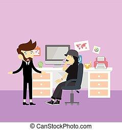 スタイル, 管理, オフィス, ビジネス, 労働者, ミーティング, 漫画
