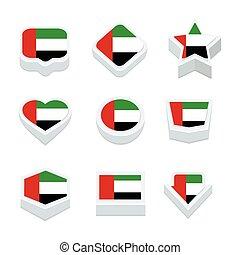 スタイル, 管轄区域, 合併した, アイコン, ボタン, アラビア人, セット, 9, 旗