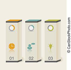 スタイル, 箱, テンプレート, 最小である, 現代, infographic, デザイン