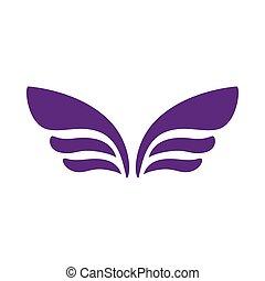 スタイル, 紋章, 単純である, デザイン, アイコン, 翼