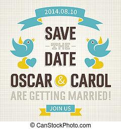 スタイル, 結婚式, 古い, 招待