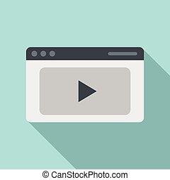 スタイル, 網, アイコン, ページ, 平ら, ビデオ