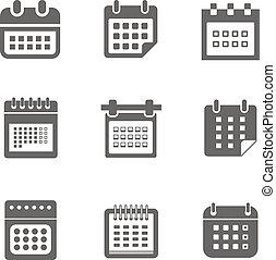 スタイル, 網, 別, アイコン, 隔離された, コレクション, カレンダー, 白