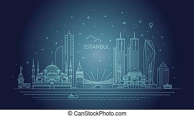 スタイル, 線である, イスタンブール, イラスト, ベクトル, スカイライン