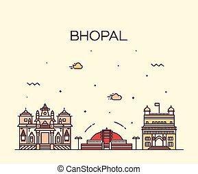 スタイル, 線である, イラスト, スカイライン, ベクトル, bhopal