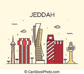 スタイル, 線である, イラスト, スカイライン, ベクトル, jeddah