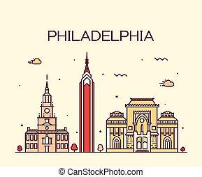 スタイル, 線である, フィラデルフィア, スカイライン, ベクトル, 最新流行である
