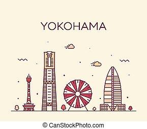スタイル, 線である, ベクトル, 横浜, 最新流行である, 日本, スカイライン