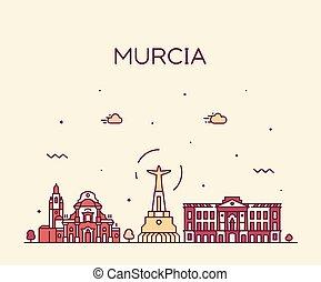 スタイル, 線である, murcia, スカイライン, ベクトル, 引かれる, スペイン
