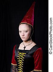 スタイル, 美しい, 肖像画, 女, 中世