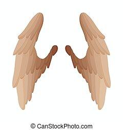 スタイル, 翼, 対, アイコン, 鳥, 漫画