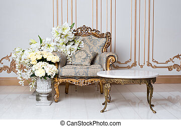 スタイル, 肘掛け椅子, 貴族, 贅沢, 優雅である, flowers., 型, 内部, レトロ, classics.