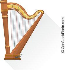 スタイル, 背景を彩色しなさい, ハープ, 古典である, ベクトル, ペダル, 平ら, orchestral, 白