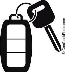 スタイル, 自動車, アイコン, 単純である, 警報