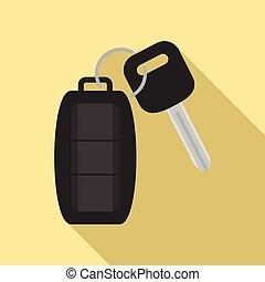 スタイル, 自動車, アイコン, 平ら, 警報