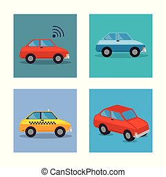 スタイル, 自動車, セット, アイコン
