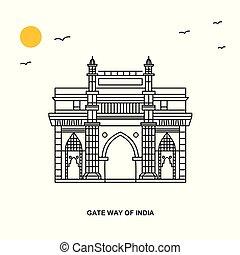 スタイル, 自然, 方法, 旅行, インド, イラスト, 背景, 門, 世界, monument., 線