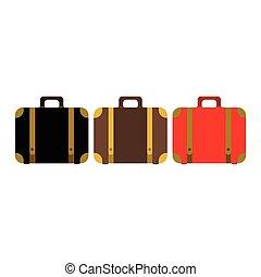 スタイル, 色, icon., 現代, スーツケース, 隔離された, 流行, セット, ベクトル, デザイン, バックグラウンド。, 平ら, illustration.