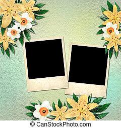 スタイル, 花, 型, polaroid, 写真, 背景