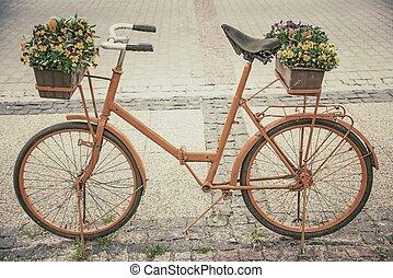 スタイル, 花, 自転車, レトロ
